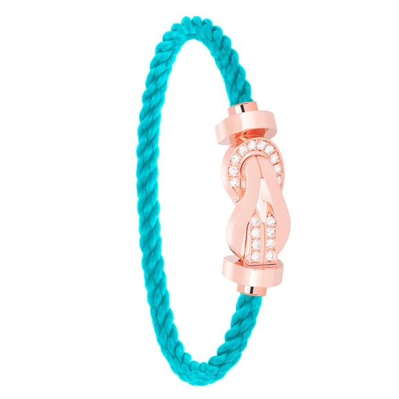 Bracelet Fred Chance Infinie Or Rose Diamants Corde Turquoise 0B0099-6B0219
