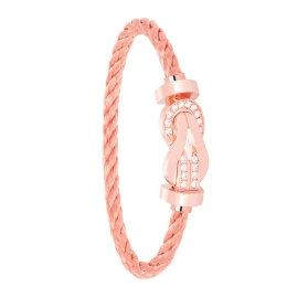 Bracelet Fred Chance Infinie Or Rose Semi Pavé Diamants Cable Or 0B0099-6B0115
