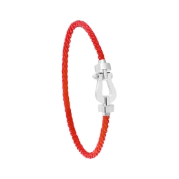 Bracelet Fred Force 10 MM Or Blanc corderie Rouge 0B0075-6B0289