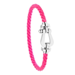 Bracelet Fred Force 10 Or Blanc Corderie Rose Fluo 0B0005-6B0169
