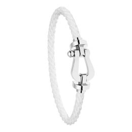 Bracelet Fred Force 10 Or Blanc Corderie Blanche 0B0005-6B0160