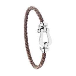 Bracelet Fred Force 10 Or Blanc Corderie Taupe 0B0005-6B0297